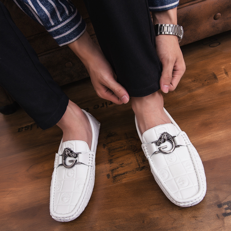 Casuais white Sapatos Slip 38 amp; Dirigindo Sola Black Fur Venda Homens 44 Abelha Tamanho on Flats Respirável Mocassins De Metal Moda black Quente White Quentes qSURt