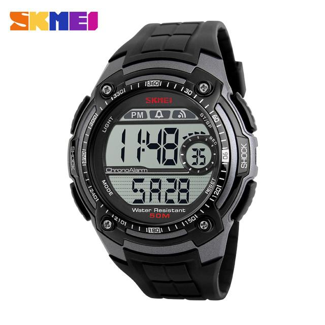 Chrono Relógios Multifunções Digital Sports Relógio de Pulso dos homens de Volta Luz 12/24 Horas Homens Relógio À Prova D' Água Assista Montre Homme