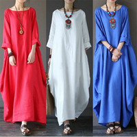 5 Xl plus size dress women solid color loose dresses casual summer dress long vintage elegant casual robe beach dress Hot sell