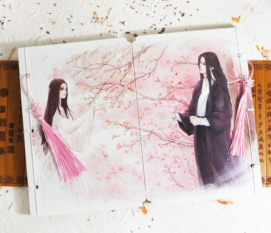Beautiful anime couple ancient line notebook special cute tassel couple postcard set notepad school office stationeryBeautiful anime couple ancient line notebook special cute tassel couple postcard set notepad school office stationery