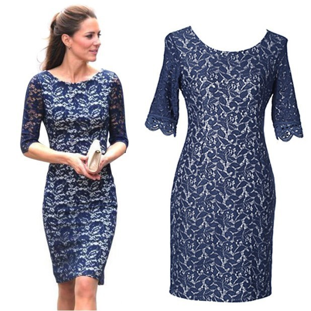 daf44199a2 Hot Kate Middleton Lace Dress Women Clothing New 2014 Fashion European Half  Sleeve Beauty Base Laces Formal Dresses