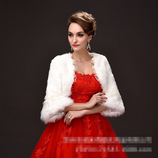 Winter Wedding Cape Wraps White Fur Coat Wedding Accessories Long Sleeves Bridal Lace Jacket Faux Fur Shrug Bridal Wraps Bolero