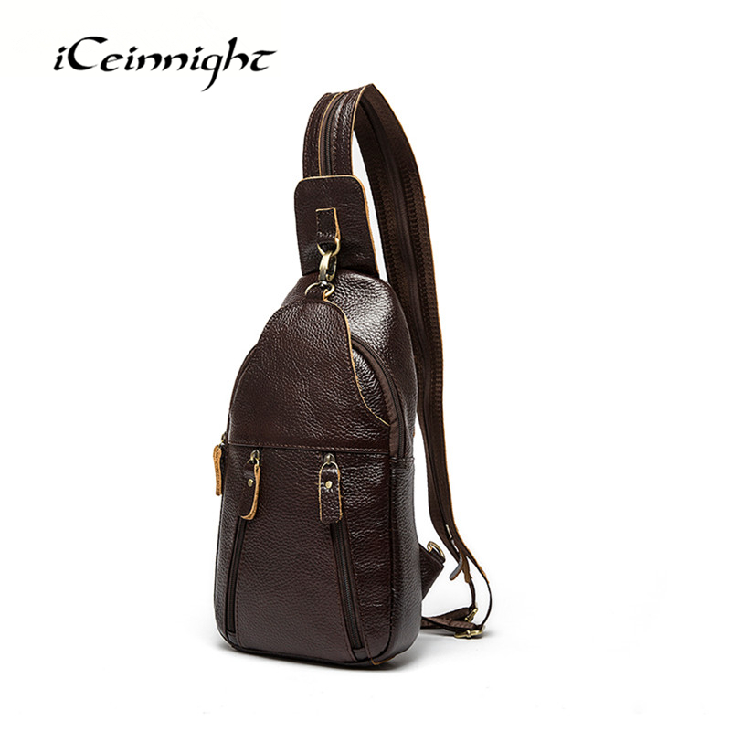 ФОТО iCeinnight Men's Chest Pack Genuine Leather Men Messenger Bags New Brand Shoulder Bags High Quality Vintage Small Crossbody Bags