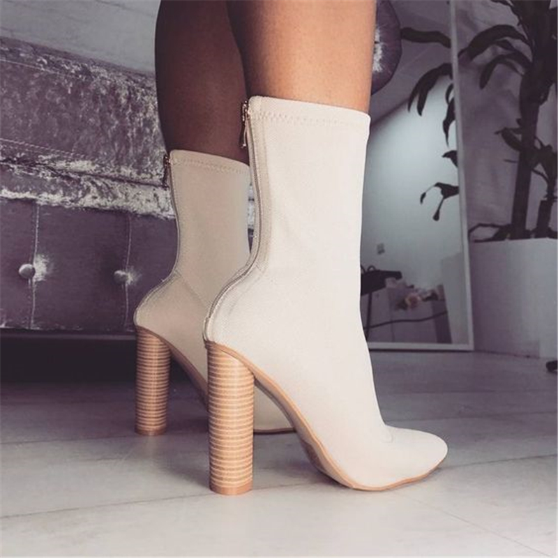 Fashion Stretch Fabric Socks Women Ankle Boots Women's Boots Pointed Toe Yarn Elastic Ankle Boots Thick Heel High Heels Shoes 40 xiuningyan women s boots round toe elastic ankle boots thick heel high heel shoe woman female fashion stretch socks boots winter