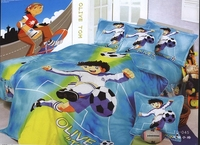 Football Cartoon Bedding Single Twin Size Duvet Cover Set Woven Cotton Bed Coverlet Sheet Boy S