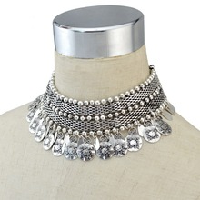Charming Tribal Tibet Silver Coin Statement Collar Choker Bib Statement Necklace Short Chain Wide Tassel Necklace Indian Jewelry