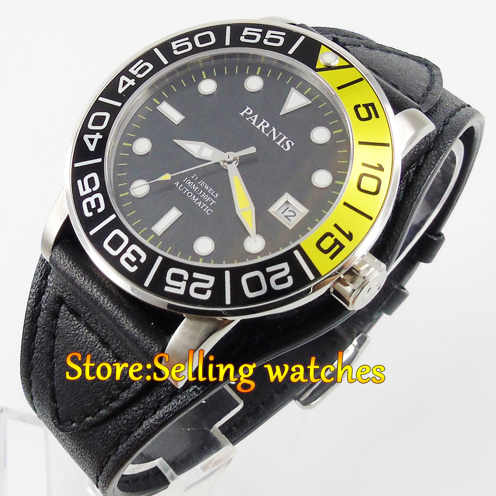 где купить 42mm Parnis black dial Sapphire glass leather Miyota automatic mens watch по лучшей цене