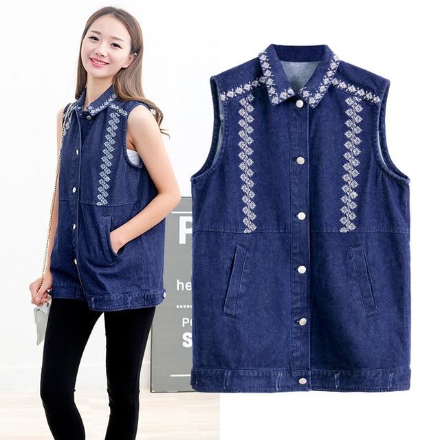 9f81031d634d3b 2018 Spring Summer Jean Jacket China Traditional Printing Women s Vests  Coat Sleeveless Cardigan Loose Solid Color Denim Vest