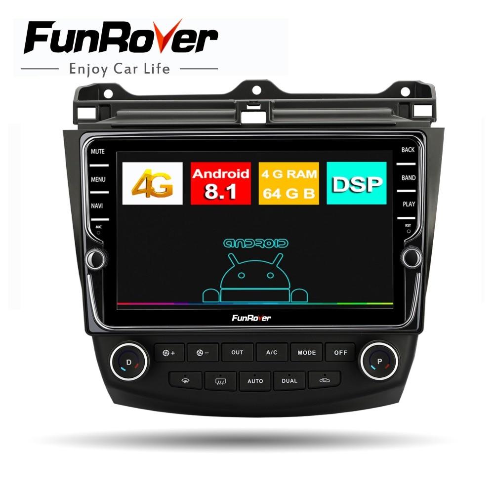 Funrover 4G + 7 Android8.1 64G multimídia rádio do carro para Honda Accord 2003-2007 2din carro DSP dvd de navegação gps jogador de tela Dividida