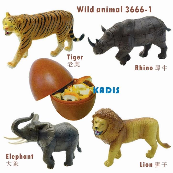 №Tigre león elefante animal salvaje rompecabezas 4 unids 3D ...