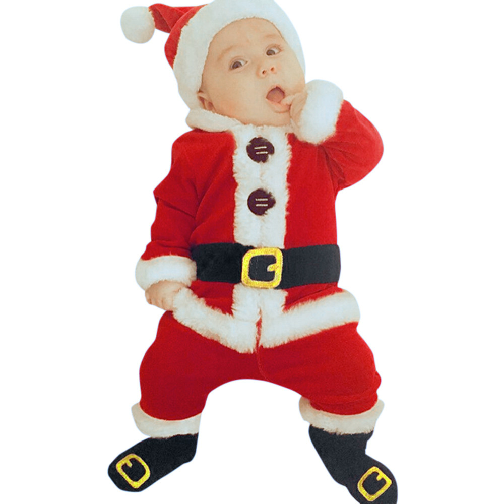 4PCS Christmas Santa Claus Costume Clothes Infant Baby Kids Boys Girls Long Sleeve Blouse Tops+Pants+Hat+Socks Outfit Sets my 1st christmas santa claus white top minnie dot petal skirt girls outfit nb 8y