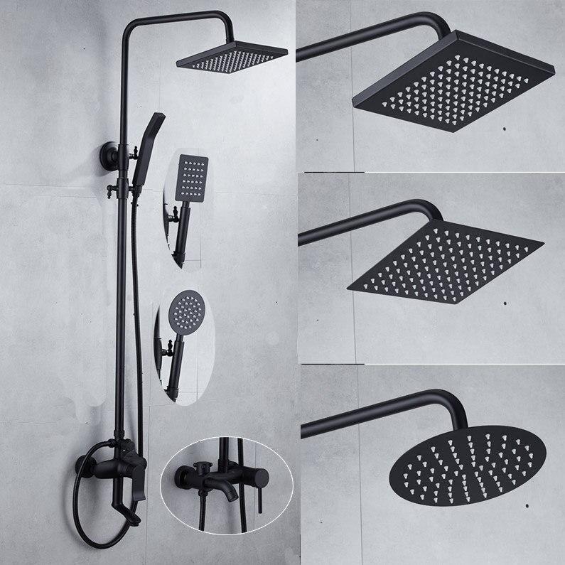 Antique noir robinets de baignoire 304 en acier inoxydable douchette mural douche mélangeur robinet 3 fonctions mélangeur