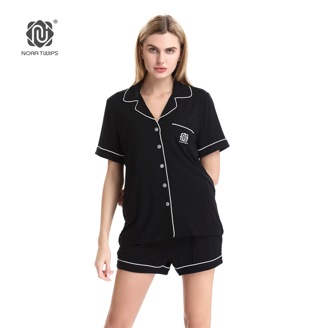 72be1892e8 NORA TWIPS Women Short Pajamas Suit Cotton 2017 New Arrival Solid Summer  Satin Pajamas Set Women Homewear Sleepwear (XS-XL