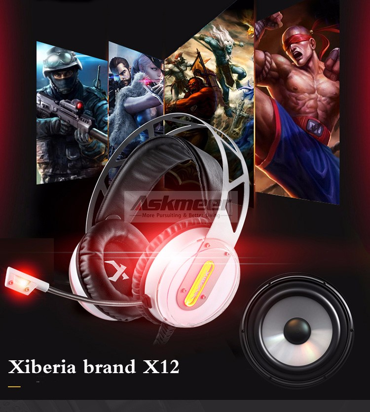 Xiberia X12 USB Gaming Headset Surround Sound Noise Canceling Luminous LED Light Over ear Headphones with Microphone for PC (1)