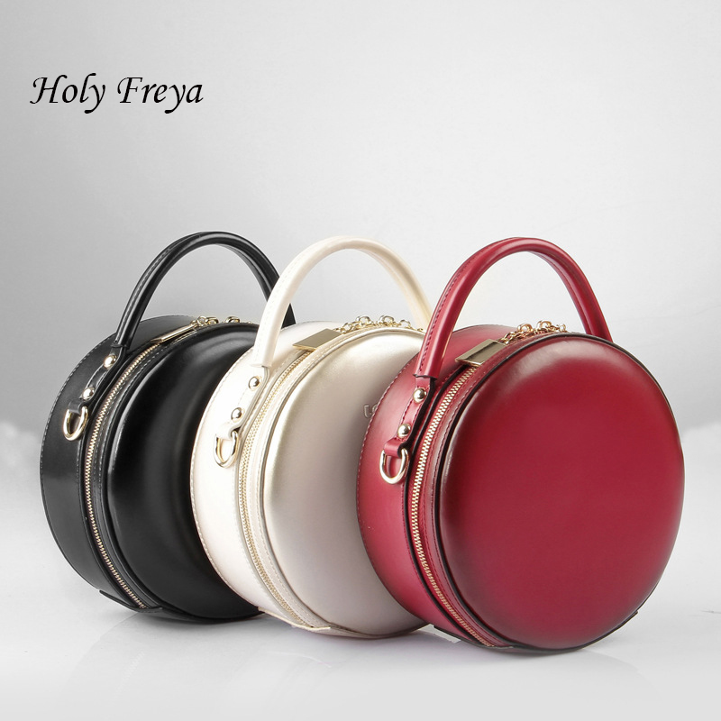 Leather Small Round Bag Women Round Handbags Cute Circular -3678