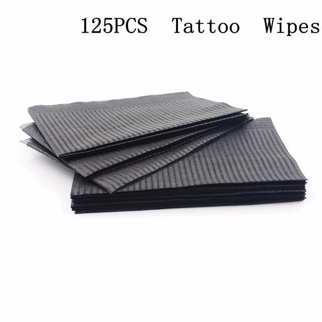 """125pcs 13 """"X18"""" שחור קעקוע ניקוי מגבונים חד פעמי שיניים פירסינג ליקוק עמיד למים גיליונות נייר קעקוע קעקוע אבזרים"""