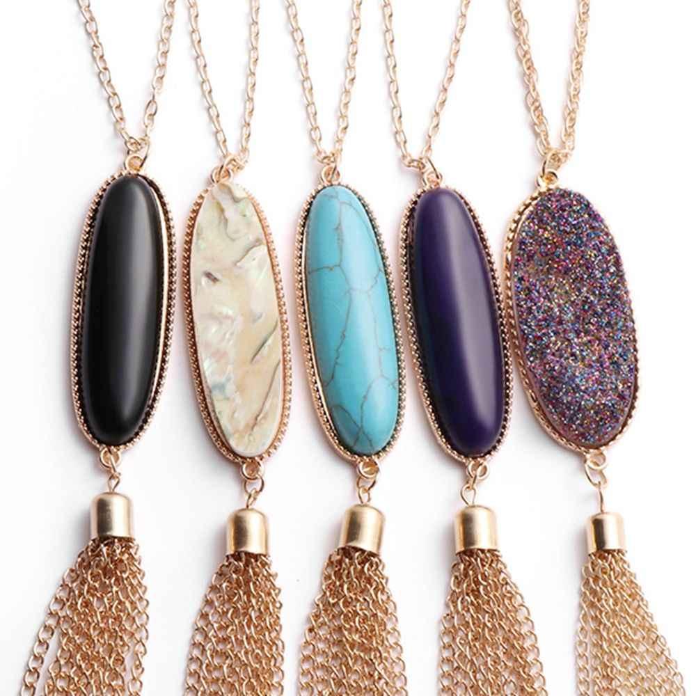 1 Pcs แฟชั่นหินธรรมชาติจี้สร้อยคอ Obsidian สีม่วงยาว Druzy พู่สร้อยคอเครื่องประดับสำหรับของขวัญผู้หญิง
