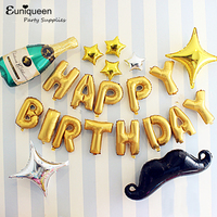 Mylar Golden Happy Birthday Letter Balloons Kit Adult Dad Father Boyfriend Birthday Party Decoration Ideas Wine