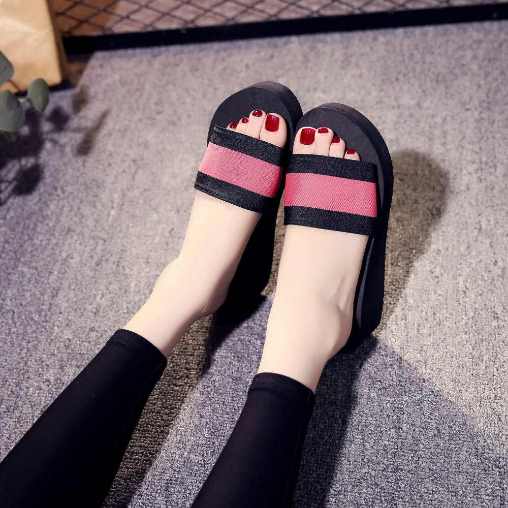 Moda leopardo grão grossas solas chinelo astec estilo cunhas praia senhora sanders 2019 nova mulher sapatos