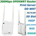 NOVO 300 Mbps MT7620A OPENWRT Router Wi-fi Repetidor Wi-fi Roteador Wi-Fi Extensor apoio DD-WRT Com MEMÓRIA RAM de 128 MB/16 MB Flash/USB/SD