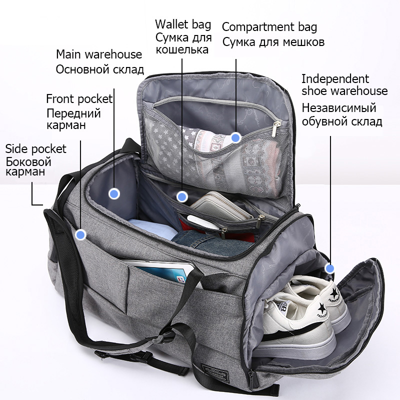 15 pouces sac de sport multifonction hommes sacs de sport femme sacs de Fitness sacs à dos d'ordinateur portable main voyage sac de rangement avec chaussures poche Yoga