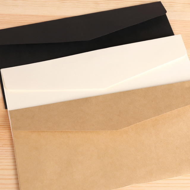 10 Pcs/Set Cartoon Kraft Paper Gift Window Envelopes Sobres 3 Color Brown  Whtie Black