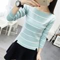 2016 New High elastic fashion Long Sleeve Sweater women slash neck All-match Slim Striped Knitting Women Sweater Pullover
