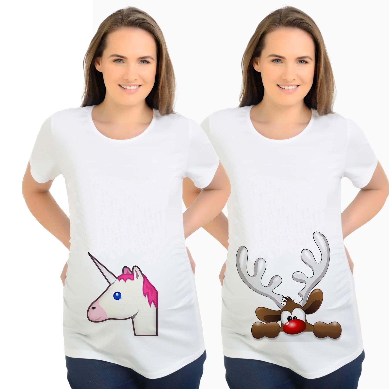 2piceslot mom shirts maternal love white maternity funny maternity shirt christmas elk unicorn clothes for women mom tees plus - Maternity Christmas Shirt