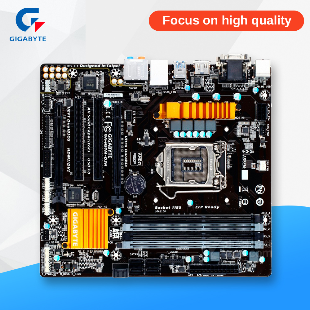 Gigabyte Ga H97m D3h Original Used Desktop Motherboard H61 Suport I3 I5 I7 Lga 1155 H97 1150 Ddr3 32g Micro Atx