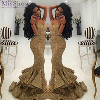 New Designer Bling Gold Sequins Mermaid Evening Dresses 2018 Spaghetti Open Back Ruffles Sweep Train Evening Gowns Pageant Dress