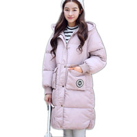 2017 New Winter Women Long Down Cotton Parkas Female Winter Hooded Thicken Size S 2XL Four