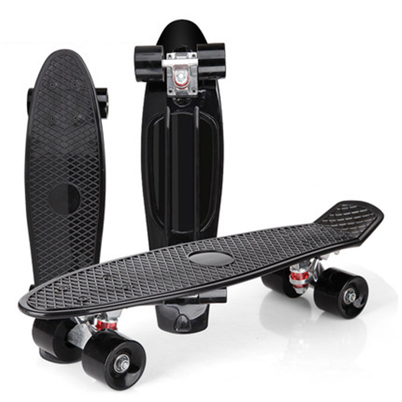 Color Single Rocker Skate Board Four Wheels Mini Cruiser Skateboard Small Fish Plate Outdoor For Adult