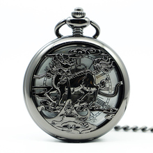 Mechanical Hand Wind Black Pocket Watch Steampunk Roman Numbers Steel Fob Watches Men Clock PJX1238