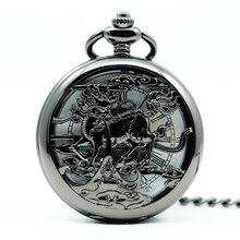 Mechanical Hand Wind Black Pocket Watch Steampunk Roman Numbers Steel Fob Watches Men Clock PJX1238