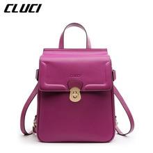 Cluci Модные женские рюкзаки сплит-кожи высокое качество небольшой рюкзак для девочек-подростков школьная кожаные сумки Bolsas feminina