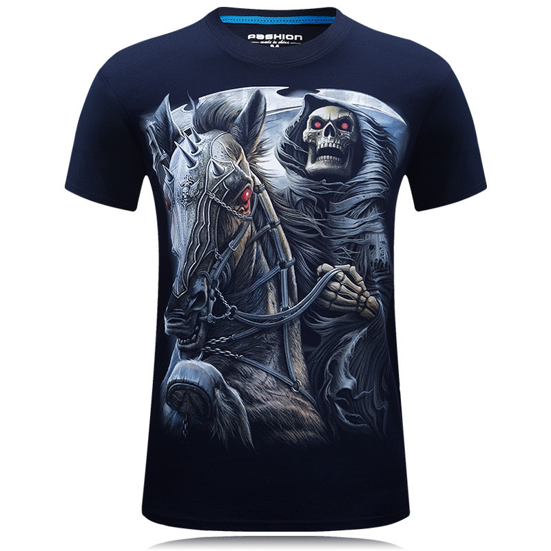 3D Printed Designer T Shirt For Men Short Sleeved T-shirts Novelty Pullover Mens Clothing Tops With death Pattern Tshirt