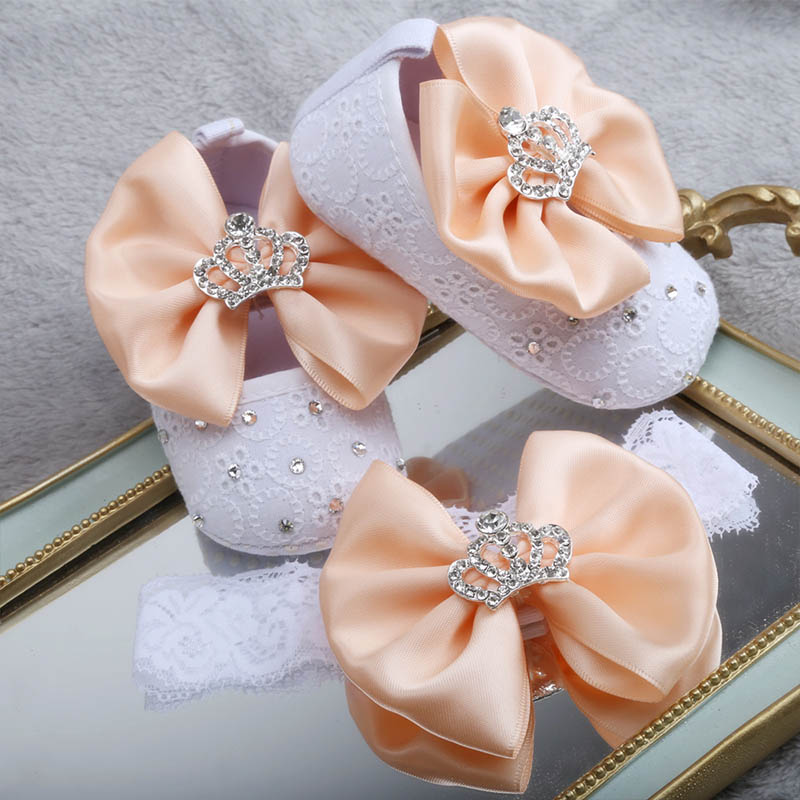 Dollbling Desgined Baby Toddler Shoes Apricot Flower Bow Diamond Crown Jewelry Baby Girl Baby Shoes Headband
