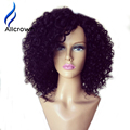 Bob peluca de cabello humano sin procesar virginal brasileño rizado corto pelucas de pelo humano para las mujeres negras glueless barato pelucas llenas del cordón