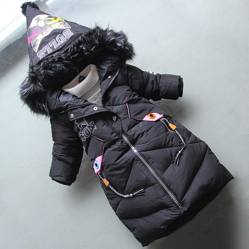 BibiCola girls coats 2018 winter cotton cartoon long coats children kids fashion thicken long dowm jackaets kids hoodie coats недорого