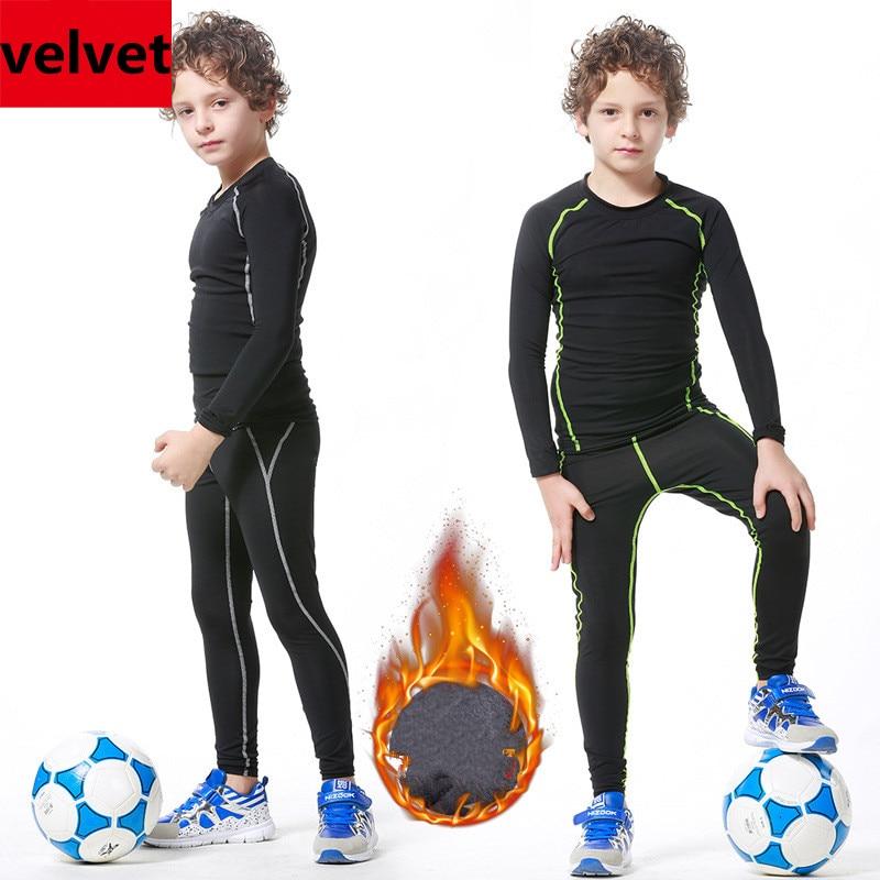 2017 Winter velvet thicken lycra Kids youth compression sports running pants jerseys survetement football soccer tights leggings