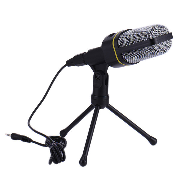 SF-666 Microphone Professional Wired Stereo condenser microphone With Holder Stand Clip For PC Chatting Singing Karaoke Laptop
