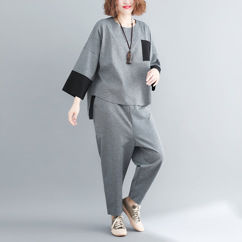 plus Size Mori Girl Grey Two Piece Sets Women Color-blocked Tops And Harem Pants Suits Casual Loose Women's Sets Feminino Mujer 30