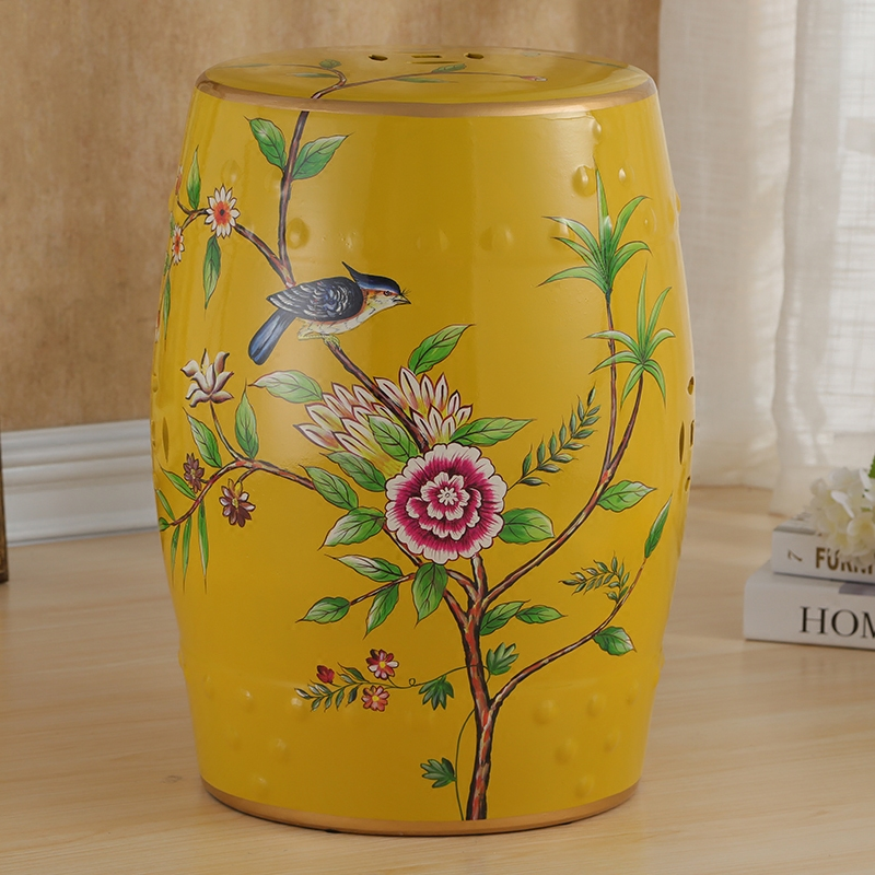 Chinese Flower and Bird Pattern Ceramic Porcelain Stool For Home Decoration цена и фото
