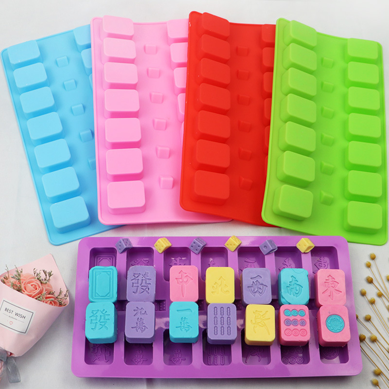 Mahjong Silicone Baking Chocolate Fondant Soap Candy Cake Topper Decor Jelly Sugarcraft Gumpaste Pastry Clay Making Ice Cube Tray Molds Pink A