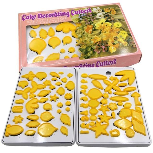 79PCS Flower&Foliage Fondant Cutter Baking Pastry Tools Cake Wedding ...