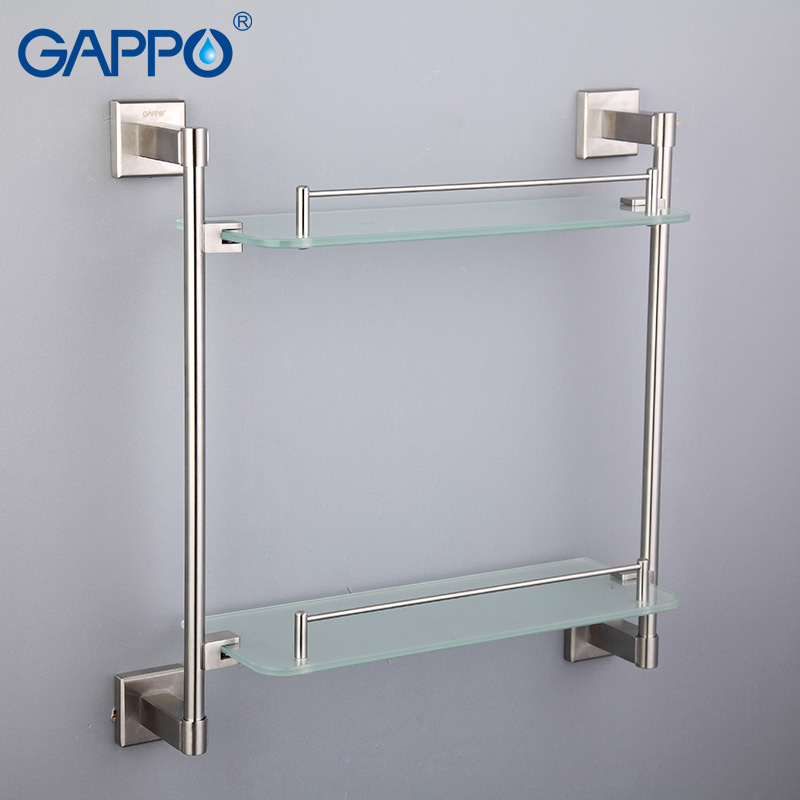 GAPPO glass Bathroom Shelves stainless steel Double Towel holder bathroom towel rack wall mount towel hangers