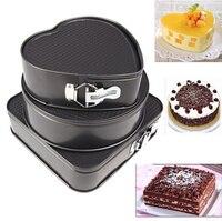 Set van Drie Springvorm Pannen Chocoladetaart Bakken Mould Mold Bakvormen Ronde Hart Vierkante Vorm Keuken Accessoires Bakken Gereedschap