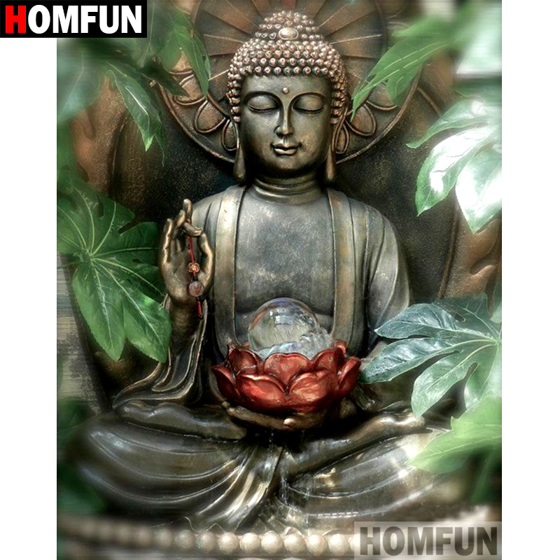 HOMFUN 5D DIY Embroidery Buddha Diamond Painting-Full Cross-Stitch Home-Decor Square/round-Drill