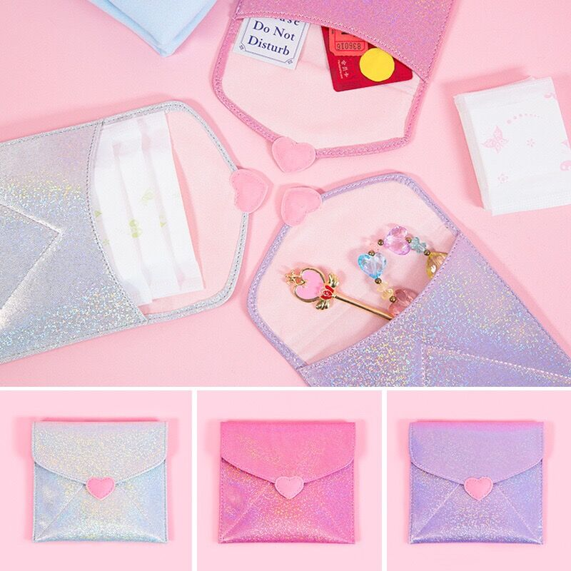 Women Sanitary Napkin Bag Female Solid Clear Tampon Babysbreath Heart Portable Bags S Card