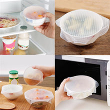 Transparent Silicone Sealed Plastic Wrap Cling Film Food Fresh Keeping Wrap Food Wraps Seal Vacuum Cover Lid Stretch(China)